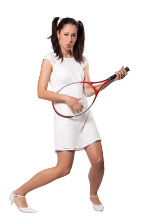 Woman in white dress retro, used tennis racket as a guitar, isolated on white background Stock Photo - 19984612