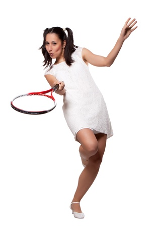 Retro woman in white dress, playing tennis, isolated on white background photo