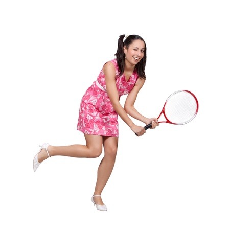 Retro girl in a pink dress, playing with tennis racket isolated on white background Stock Photo - 20019996