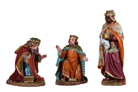 Wooden Sculptures nativity scene, illustrating the three kings isolated on white background