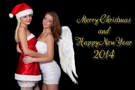Girls sexy Santa Claus and Angel are holding, with the words Merry Christmas and Happy New Year 2014 Stock Photo