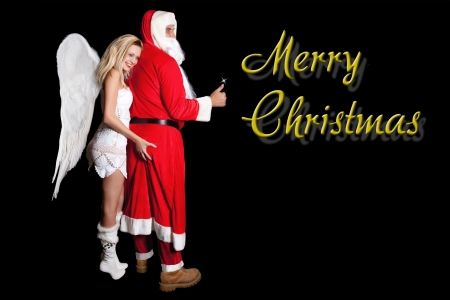christmas costume: Female angel with large wings, holding hand man, Santa Claus on his ass, with inscription Merry Christmas