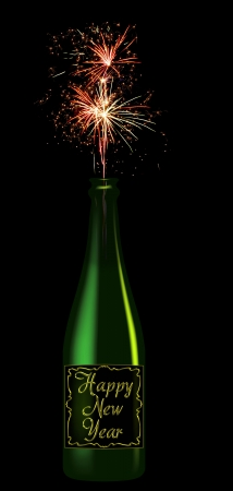 Champagne bottle with the inscription Happy New Year from that fires fireworks isolated on black background photo