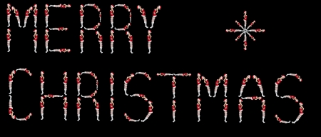 Merry Christmas inscription creatd with women dressed in Santa Claus costume photo