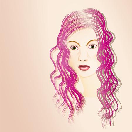 pelo ondulado: Retrato ilustrado de la mujer de pelo largo joven con el pelo ondulado de color p�rpura Vectores