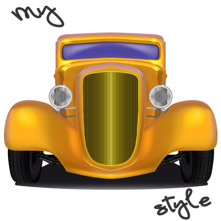 Front view of yellow hot rod with the inscription My style formed by tire footprints, isolated on white background