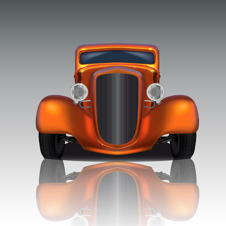 Front view of orange hot rod with reflection