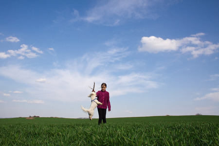 Girl playing with her dog on the grass photo