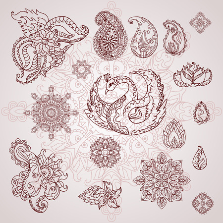 Henna tattoo doodle vector elements. Mehndi design for hands.