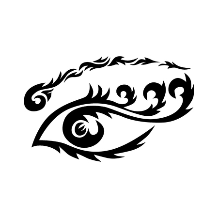 Eye tattoo, Maori tribal tattoo in Polynesian style. Celtic ornament in traditional medieval style for ethnic embellishment and tattoo design.