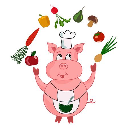 Divertidos dibujos animados de cocinero-cocinero de cerdo hacen malabares con verduras y frutas: zanahoria, manzana, cebolla, pera, tomate, rábano, pimiento, champiñones. Ilustración de vectores aislado sobre fondo blanco.