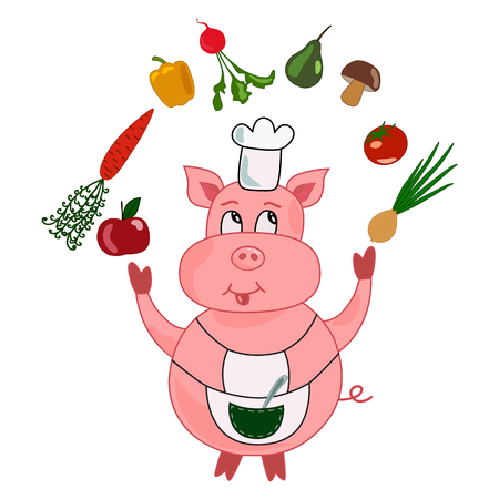 Funny pig cook-chef cartoon juggles vegetables and fruits: carrot, apple, onion, pear, tomato, radish, pepper, mushroom. Vector illustration isolated on white background. Banque d'images - 99296228