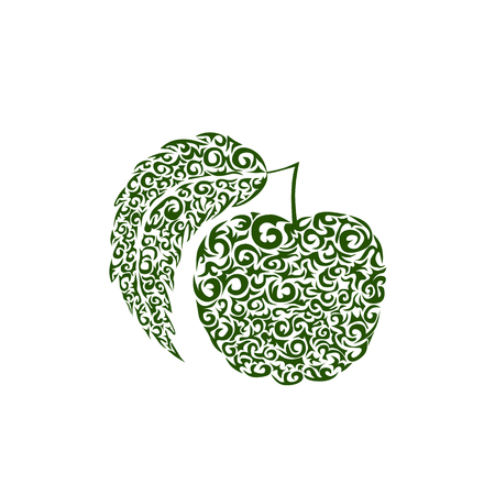 Decorative ornate Apple, stylized abstract lace pattern. Vector illustration. Decorative apple ornament. Fruit symbol with beauty floral ornament decoration. Use for any design you want. Easy to edit