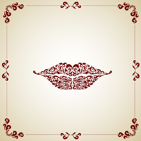 Ornate red lips icon logo kiss red lipstick.