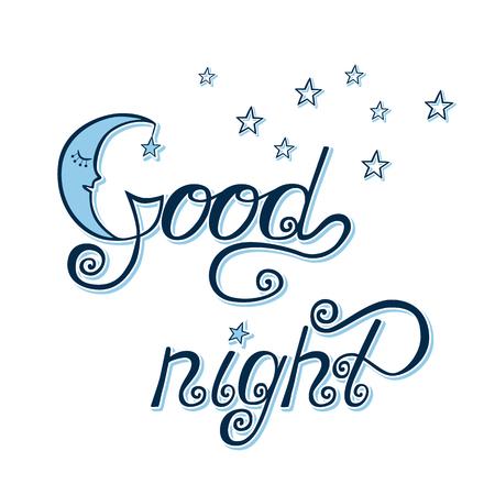 Good night word written in calligraphy style. Handwritten script. Vector illustration.