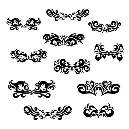 Maori tribal tattoo - Set of  different vector tribal tattoo in polynesian style. Celtic ornaments in traditional medieval style for ethnic embellishment and tattoo design.