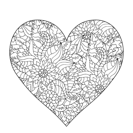 Hand drawn flower heart for adult anti stress. Coloring page with high details isolated on white background.  pattern for relax and meditation.