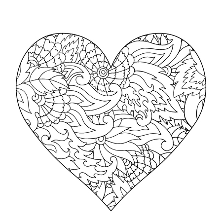 Hand Drawn Flower Heart For Adult Anti Stress Coloring Page With High Details Isolated On