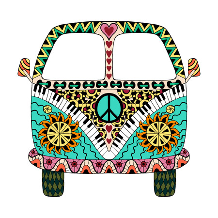 Hippie vintage car a mini van in style for adult anti stress. Coloring page with high details isolated on white background. Made by trace from sketch. Hippy color vector illustration. Retro 1960s, 60s, 70s