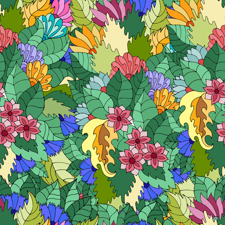 Vector seamless texture with abstract flowers and leaves. Endless background. Boho seamless pattern. Vector backdrop. Bright pattern. Summer template. Use for wallpaper, web page background