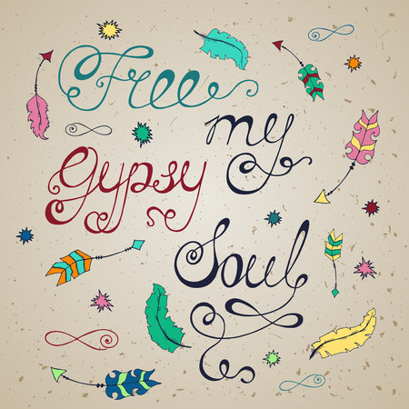 Free my gypsy soul. Inspirational quote about freedom. Modern calligraphy phrase with hand drawn birds. Lettering in boho style for print and posters.