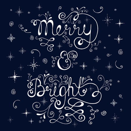 Merry and bright. Merry Christmas retro poster with hand lettering, stars and snowflakes. Illustration for christmas greeting card, poster or print.