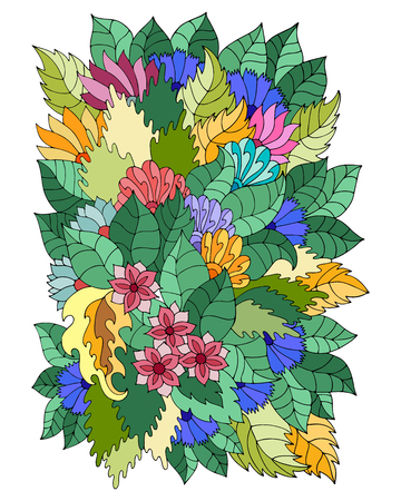 Magic  pattern with abstract flowers and leaves. Bohemian background. Vector backdrop. Summer template. Bright pattern