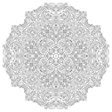 Hand drawn circle flower ornament for adult anti stress. Coloring page with high details isolated on white background. Made by trace from sketch. Ink pen. pattern for relax and meditation.