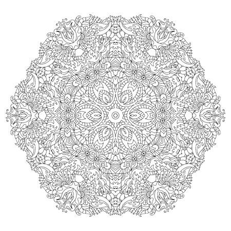 Ręcznie rysowane koło kwiat ornament dla dorosłych anty stres. Kolorowanki z wysokimi szczegółami na białym tle. Wykonane według śladu ze szkicu. Pióro atramentowe. wzór na relaks i medytację. Ilustracje wektorowe