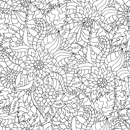 Hand drawn flower ornament for adult anti stress. Coloring book page with high details isolated on white background. Made by trace from sketch. Pattern for coloring book in vector. Floral seamless pattern.