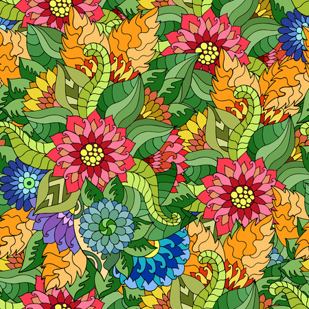 Magic seamless pattern with abstract flowers. Endless background. Boho seamless pattern. Vector backdrop. Summer template. Use for wallpaper, web page background
