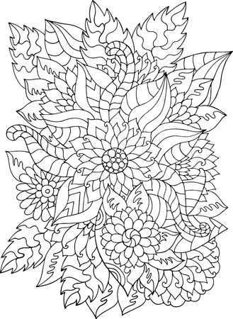 Hand drawn flowers and leaves for adult anti stress. Coloring page with high details isolated on white background. Made by trace from sketch. Ink pen.  pattern for relax and meditation.