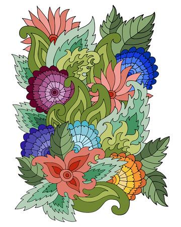 Modello magico con foglie e fiori astratti. Sfondo bohémien. Sfondo vettoriale. Modello estivo. Modello luminoso