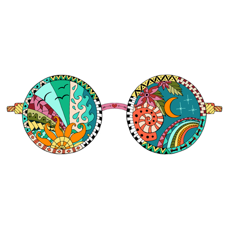 Hand drawn hippie sun glasses for anti stress coloring page. Pattern for coloring book. Made by trace from sketch.Illustration in style. Colorful variant. Hippie collection