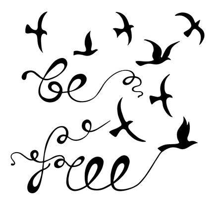 Se libre. Cita inspiradora sobre la libertad. Frase de caligrafía moderna con pájaros dibujados a mano. Rotulación en estilo boho para impresión y carteles.