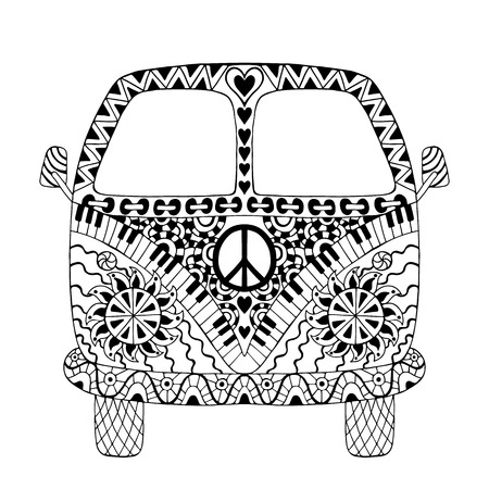Hippie vintage car a mini van in style for adult anti stress. Coloring page with high details isolated on white background. Made by trace from sketch. Hippy monochrome vector illustration. Retro 1960s, 60s, 70s