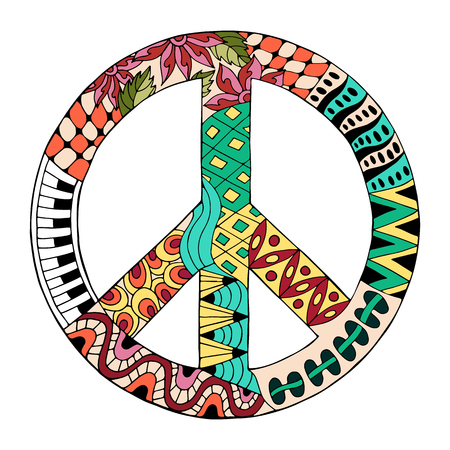 Hippie vintage peace symbol in style for adult anti stress. Coloring page with high details isolated on white background. Made by trace from sketch. Hippy colorful vector illustration. Retro 1960s, 60s, 70s
