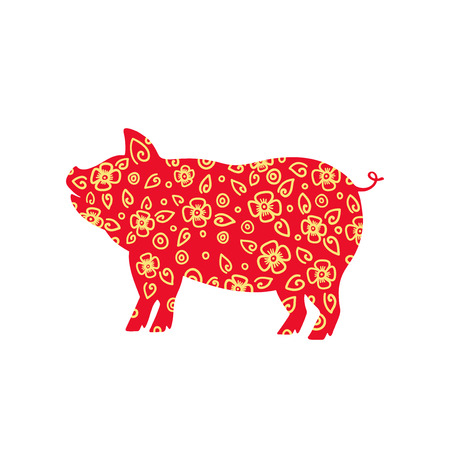 2019 Chinese New Year of the Pig. Hand drawn typography design. Calligraphy holiday inscription. Red ang gold vector illustration isolated on white background.