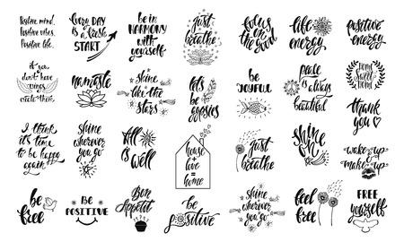 Ensemble de citations inspirantes positives avec des éléments de croquis. Phrases dessinées à la main de calligraphie moderne. Lettrage de vecteur pour impression, tshirt, affiche. Conception typographique.