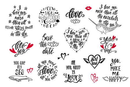 Set of positive inspirational quotes for Valentines Day. Modern calligraphy hand drawn phrases about love. Vector lettering for print, tshirt, poster, greeting card. Holiday typography design. Иллюстрация