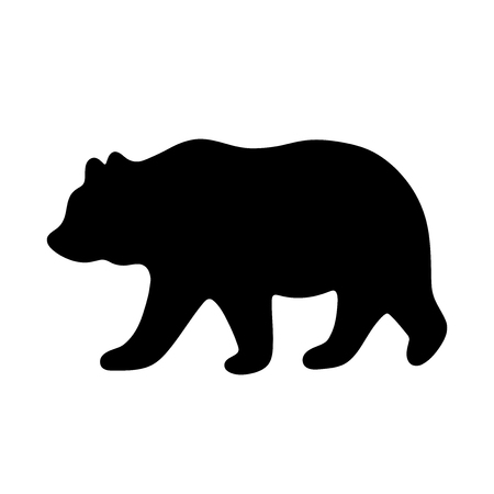 Bear silhouette. Vector illustration isolated on white background for print and poster. Typography design. 스톡 콘텐츠 - 115947422