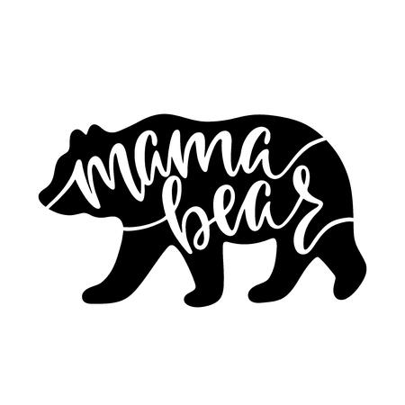 Maman ours. Citation inspirante avec silhouette d'ours. Main qui écrit une phrase de calligraphie. Illustration vectorielle isolée pour impression et affiche. Conception de typographie.