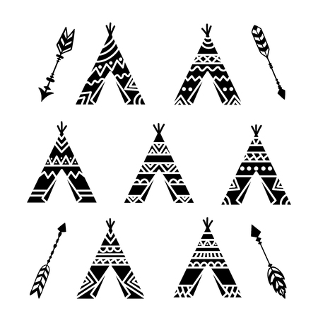 Teepee tents and arrows tribal tattoo collection. Wigwam ornamental design. Can be used to shirts, prints, posters, kid room decor, boy nursery decor. Vector illustration isolated on white background.