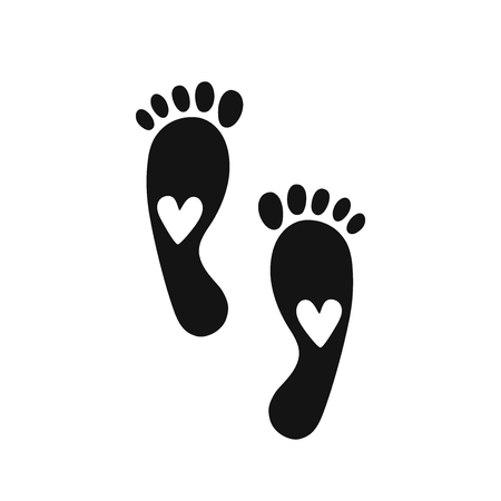 Footprint vector icon with heart. Illustration isolated on white background.