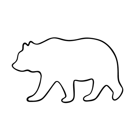 Bear silhouette. Vector illustration isolated on white background for print and poster. Outline design. Vettoriali