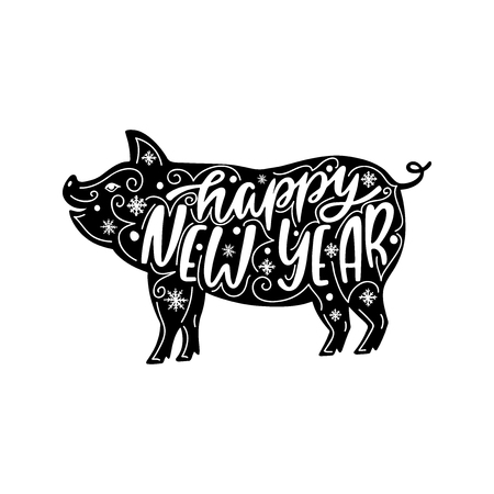 Happy New Year text. 2019 Chinese Year of the Pig. Hand drawn typography design. Calligraphy ornamental holiday inscription. Black ang white vector illustration isolated on white background.