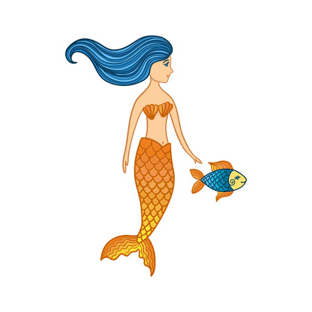 Hand drawn cute little mermaid girl with fish. Color sketch isolated cartoon illustration for kids print, t-shirt, book, textile, room poster, greeting card. Vector clipart character.