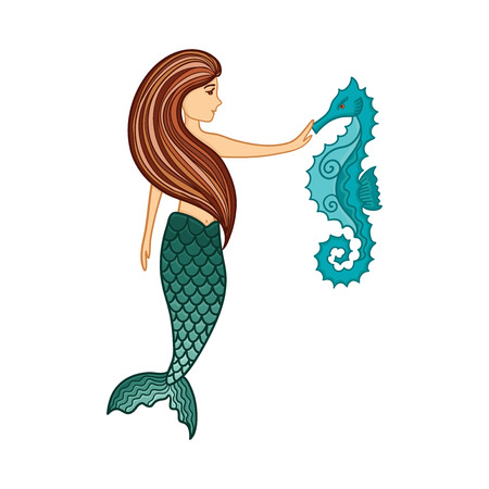 Hand drawn cute little mermaid girl with seahorse. Color sketch isolated cartoon illustration for kids print, t-shirt, book, textile, room poster, greeting card. Vector clipart character.