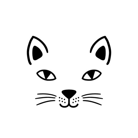 Hand drawn cute cat face. Sketch isolated cartoon illustration for print, t-shirt, textile, poster, apparel design. Vector clipart character. Иллюстрация