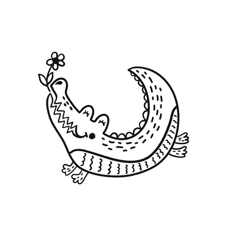 Hand drawn cute crocodile with flower. Black and white cartoon isolated illustration for kids. Sketch vector character. Иллюстрация